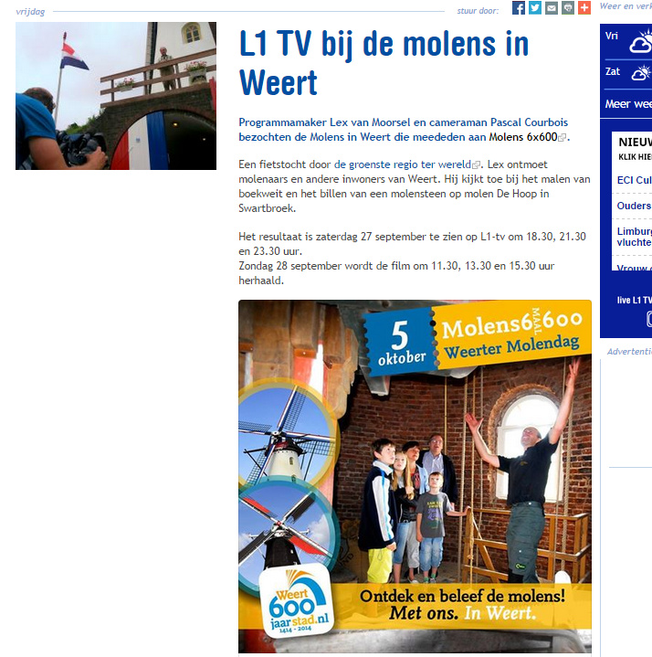 Documentaire over Weerter molens L1 TV Limburg 29-09-2014
